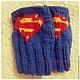 Варежки, митенки, перчатки ручной работы. Заказать Митенки Супермен. Handmake. Ярмарка Мастеров. Супермен, митенки вязаные, рождество