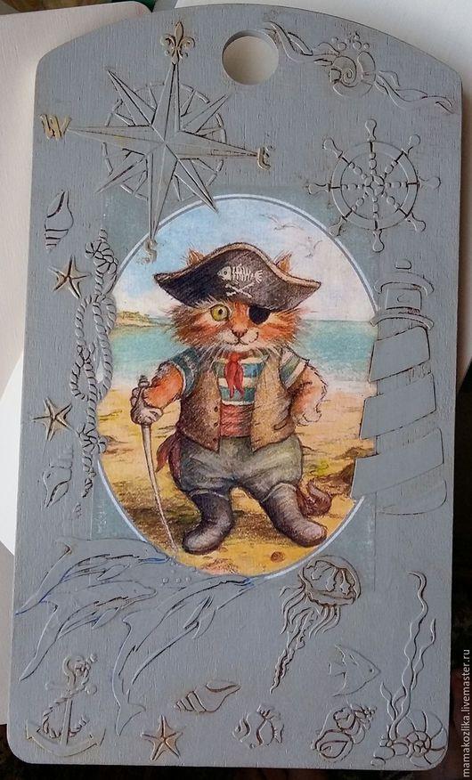 """Кухня ручной работы. Ярмарка Мастеров - ручная работа. Купить Разделочная доска """"Кот пират"""". Handmade. Серый, морская тема"""