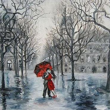 Картины и панно ручной работы. Ярмарка Мастеров - ручная работа Танцующие под дождём. Handmade.