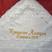 Работы для детей, handmade. Livemaster - original item Embroidery of name and date of baptism on all our products.. Handmade.
