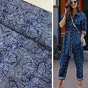 Материалы для творчества handmade. Livemaster - original item Fabric: Max Mara jeans with print. Handmade.