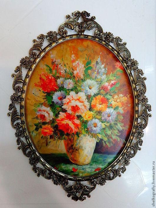 """Картины цветов ручной работы. Ярмарка Мастеров - ручная работа. Купить Картина на шелке """"Цветы в вазе"""". Handmade. Картина"""