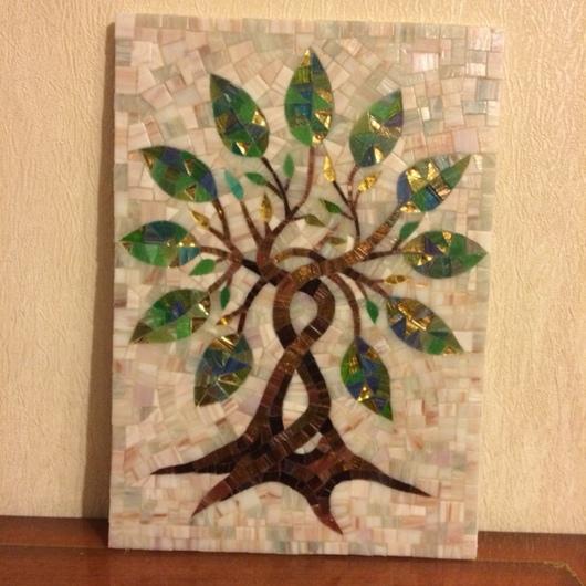 """Символизм ручной работы. Ярмарка Мастеров - ручная работа. Купить Мозаичное панно """"дерево"""" (символ роста и процветания дома). Handmade."""