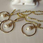 Украшения handmade. Livemaster - original item Jewelry set with natural pearls. Handmade.