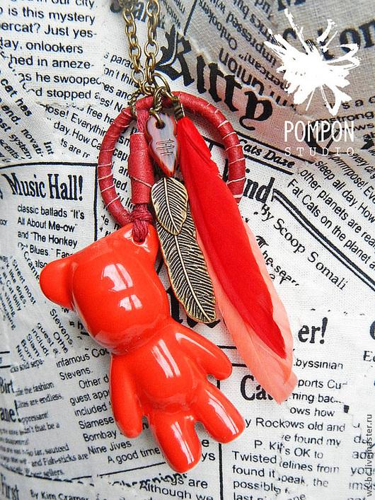 """Кулоны, подвески ручной работы. Ярмарка Мастеров - ручная работа. Купить Подвеска """"Вождь краснокожих"""". Handmade. Мишка, подвеска мишка"""
