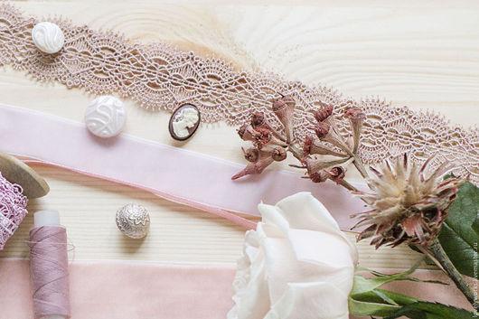 Шитье ручной работы. Ярмарка Мастеров - ручная работа. Купить Нежное кружево, гипюр, пыльный розовый, 3,5см. Handmade.