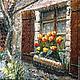 Пейзаж ручной работы. Ярмарка Мастеров - ручная работа. Купить Картина маслом Окно в средневековье. Handmade. Коричневый, тюльпаны, подоконник