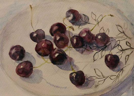 Натюрморт ручной работы. Ярмарка Мастеров - ручная работа. Купить Черешни. Handmade. Бордовый, натюрморт с ягодами, вишня акварелью