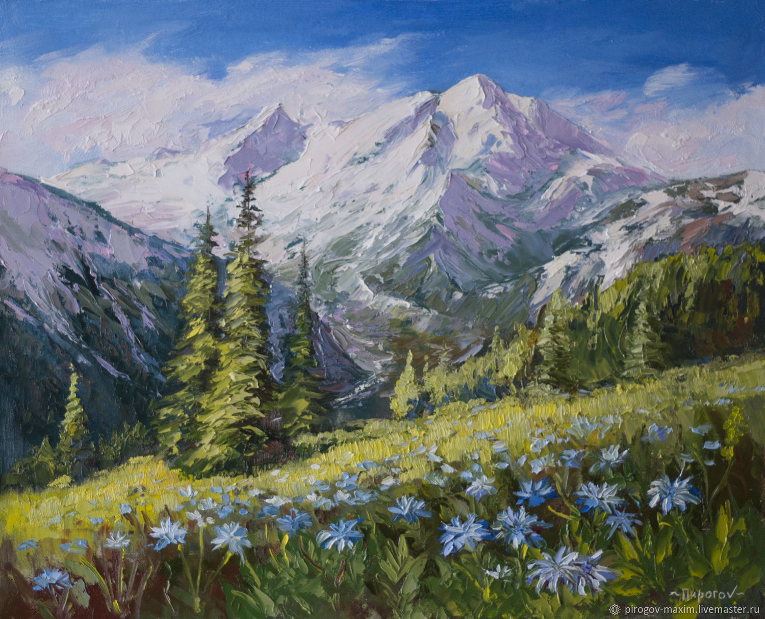 To buy oil painting, Buy mountain landscape with flowers. Bright mountains, Pictures, Samara,  Фото №1