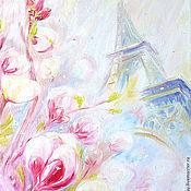 """Картины и панно ручной работы. Ярмарка Мастеров - ручная работа Картина """"Цветочный снег в Париже"""" масло, холст, оргалит 40х30 см. Handmade."""