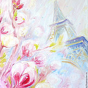 "Картины и панно handmade. Livemaster - original item The painting ""Snow Flower in Paris"" oil on canvas, canvas. Handmade."