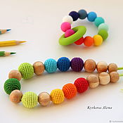 Одежда handmade. Livemaster - original item Slingobusy and teething toy - set rainbow. Handmade.