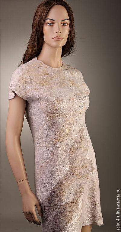 Войлочное платье ручной работы платье ручной работы, платье войлочное из шерсти мериноса