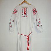 """Русский стиль handmade. Livemaster - original item Вышитая рубаха-платье """"Розы"""" из льна. Handmade."""