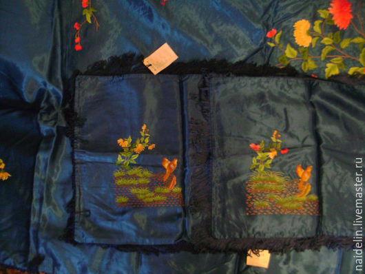 Винтажные предметы интерьера. Ярмарка Мастеров - ручная работа. Купить Покрывало синее вышивка с  бахромой. Handmade. Комбинированный, вышитое покрывало