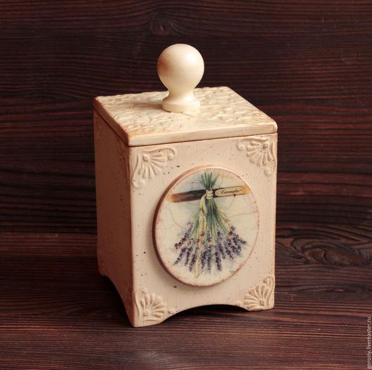 """Кухня ручной работы. Ярмарка Мастеров - ручная работа. Купить Короб для чая """"Лаванда"""" маленький. Handmade. Бежевый, короб для трав"""