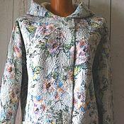Одежда ручной работы. Ярмарка Мастеров - ручная работа Жакет валяный Курточка с капюшоном  1 шерсть 100% шёлк. Handmade.