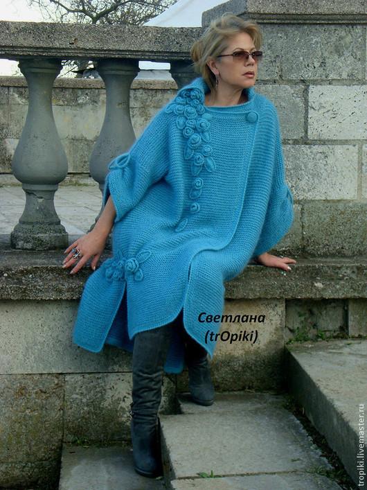 """Верхняя одежда ручной работы. Ярмарка Мастеров - ручная работа. Купить """"Водопад из роз""""авторское вязаное пальто. Handmade. Голубой, спицы"""
