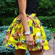Одежда ручной работы. Ярмарка Мастеров - ручная работа Юбка из органзы с атласом Летний Цветок Желтая. Handmade.