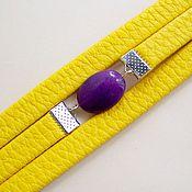 Украшения ручной работы. Ярмарка Мастеров - ручная работа Желтый браслет  из кожи с камнями Желто-фиолетовый Затмение. Handmade.