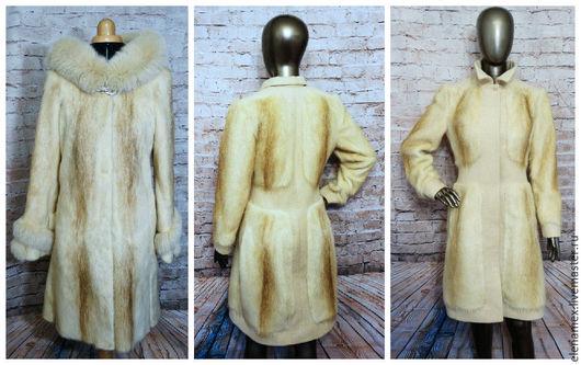 Верхняя одежда ручной работы. Ярмарка Мастеров - ручная работа. Купить Пальто из нутрии. Handmade. Бежевый, жакейка, москва, шуба