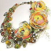 Украшения handmade. Livemaster - original item The June Pastoral. Necklaces, three brooches - handmade flower made of fabric. Handmade.