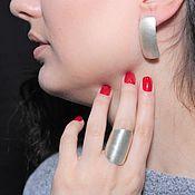Украшения handmade. Livemaster - original item Minima Series Arc Ring and earrings in brushed silver. Handmade.