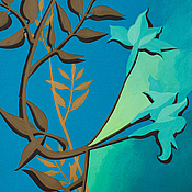 Картины и панно ручной работы. Ярмарка Мастеров - ручная работа Бирюзовый цветок,графика 34х50 см. Handmade.