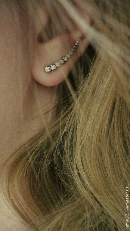 """Серьги ручной работы. Ярмарка Мастеров - ручная работа. Купить Серьги - пины вдоль уха  """"Дорожка""""из серебра 925. Handmade."""