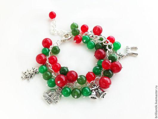 Подарок на Новый год, подарок девушке браслет, браслет с камнями, браслет с подвесками, браслет с шармами, рождественское украшение, новогоднее украшение, купить украшение спб, купить браслет спб