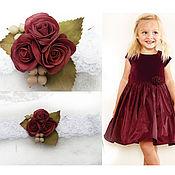 Аксессуары ручной работы. Ярмарка Мастеров - ручная работа Повязка с бордовыми розами, с розами цвета марсала. Handmade.