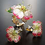 Украшения handmade. Livemaster - original item Subtle earrings and a Delicate ring of Azalea, the rare stained-glass decoration. Handmade.
