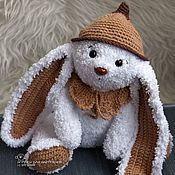 Куклы и игрушки handmade. Livemaster - original item Knitted plush white Bunny in cap and collar. Handmade.
