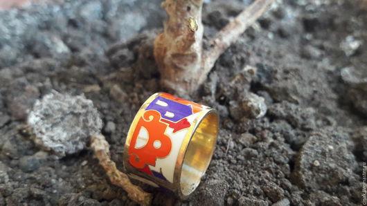 Кольца ручной работы. Ярмарка Мастеров - ручная работа. Купить Позолоченное серебряное кольцо с эмалью - Бурано 3. Handmade. Золотой
