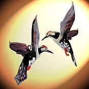 Для дома и интерьера ручной работы. Ярмарка Мастеров - ручная работа Интерьерное стеклянное украшение - птица Дятел. Handmade.