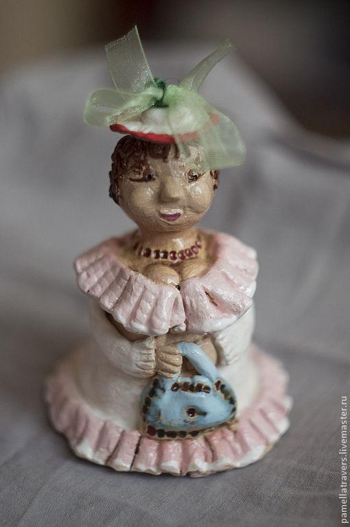 """Колокольчики ручной работы. Ярмарка Мастеров - ручная работа. Купить Колокольчик """"Феечка счастья Розалинда"""". Handmade. Колокольчик, дама, ангобы"""