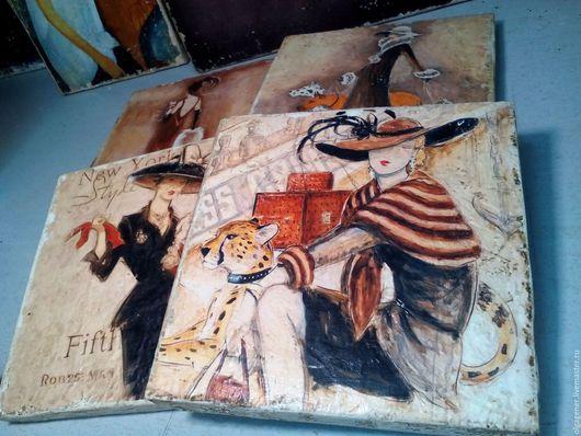 Люди, ручной работы. Ярмарка Мастеров - ручная работа. Купить Панно_4 шт_деревянное из толстого дерева_Леди W0162. Handmade. Комбинированный