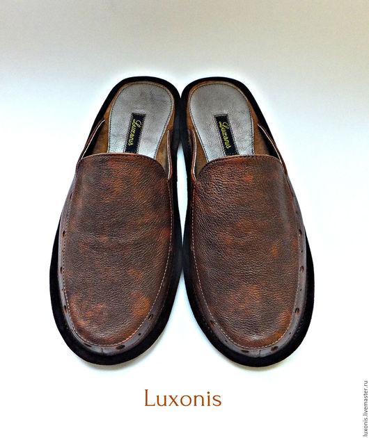 """Обувь ручной работы. Ярмарка Мастеров - ручная работа. Купить Кожаные тапочки """"Брутал"""". Handmade. Коричневый, обувь для дома"""