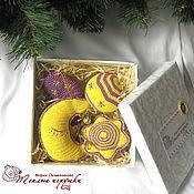 Подарки к праздникам ручной работы. Ярмарка Мастеров - ручная работа Елочные игрушки, набор украшений, 4 фигурки, желтый-фиалковый-золото. Handmade.