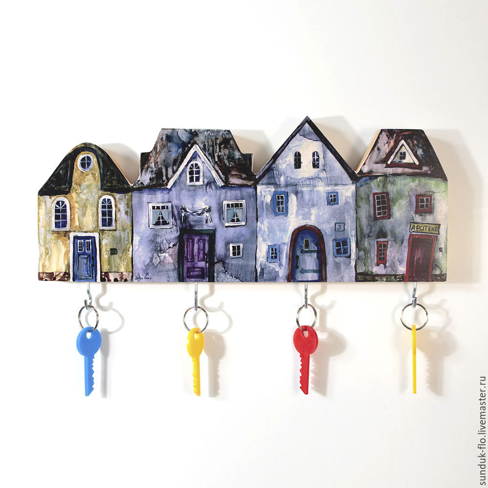 Wooden wall key holder with houses