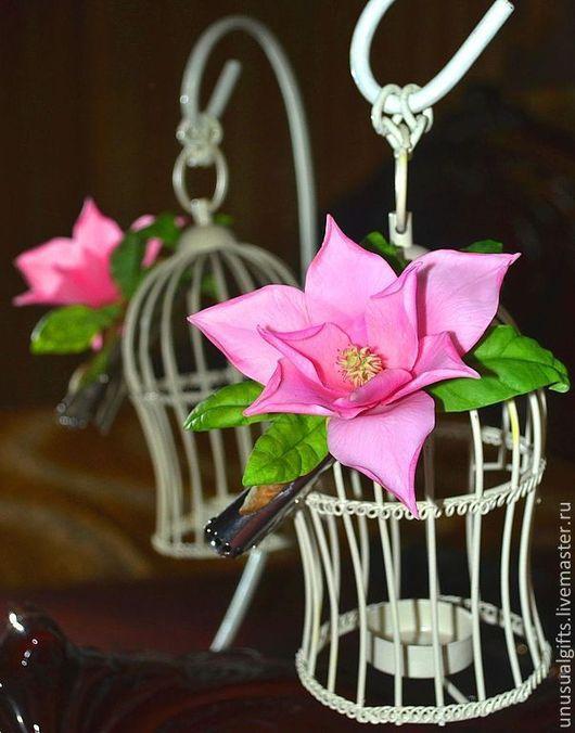 """Заколки ручной работы. Ярмарка Мастеров - ручная работа. Купить Заколка-зажим Магнолия """"Тропический цветок"""". Handmade. Розовый"""