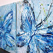 """Картины и панно ручной работы. Ярмарка Мастеров - ручная работа """"Бабочки. Весенняя игра"""" модульная картина. Handmade."""