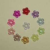 Материалы для творчества ручной работы. Ярмарка Мастеров - ручная работа Кабошоны акриловые разноцветные с отверстием Цветы. Handmade.