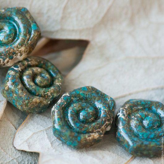 """Для украшений ручной работы. Ярмарка Мастеров - ручная работа. Купить Бусина, Мурано """"Артефакты"""", фигурная, стекло, сине-зеленый. Handmade."""