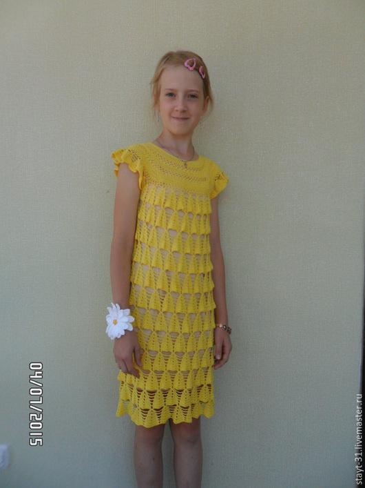 """Платья ручной работы. Ярмарка Мастеров - ручная работа. Купить Платье """"Озорной колокольчик"""". Handmade. Желтый, Вязание крючком, озорной"""