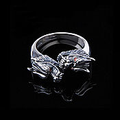 Украшения handmade. Livemaster - original item Ring with dragons dimensionless silver 925 with red zircons. Handmade.