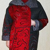 """Одежда ручной работы. Ярмарка Мастеров - ручная работа Пальто валяное """"Серое с красным"""". Handmade."""