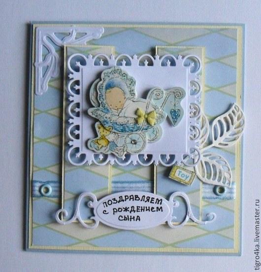 Детские открытки ручной работы. Ярмарка Мастеров - ручная работа. Купить НА РОЖДЕНИЕ МАЛЬЧИКА. Handmade. Голубой, день рождения