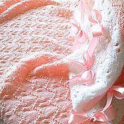 """Для дома и интерьера ручной работы. Ярмарка Мастеров - ручная работа Плед для девочки """"Нежность чайной розы"""" вязаный спицами полушерстяной. Handmade."""