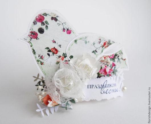 """Открытки для женщин, ручной работы. Ярмарка Мастеров - ручная работа. Купить Открытка """"Птичка-весна"""". Handmade. Белый, открытка для женщины"""